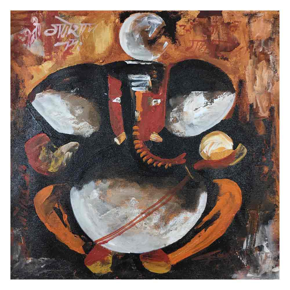 "Figurative Painting with Acrylic on Canvas ""Ganesha-1"" art by Ghanshyam Kashyap"