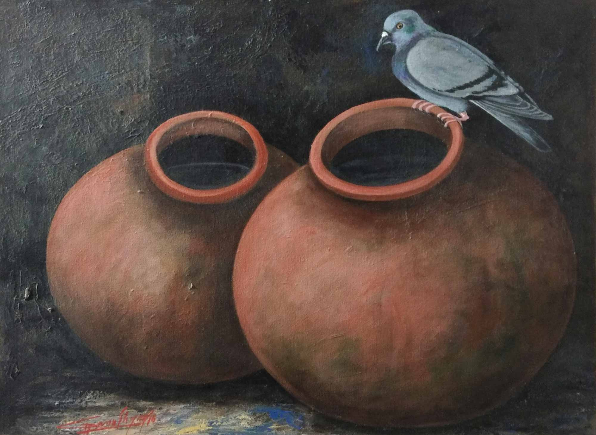 "Realism Painting with Acrylic on Canvas ""Matka"" art by Ghanshyam Kashyap"