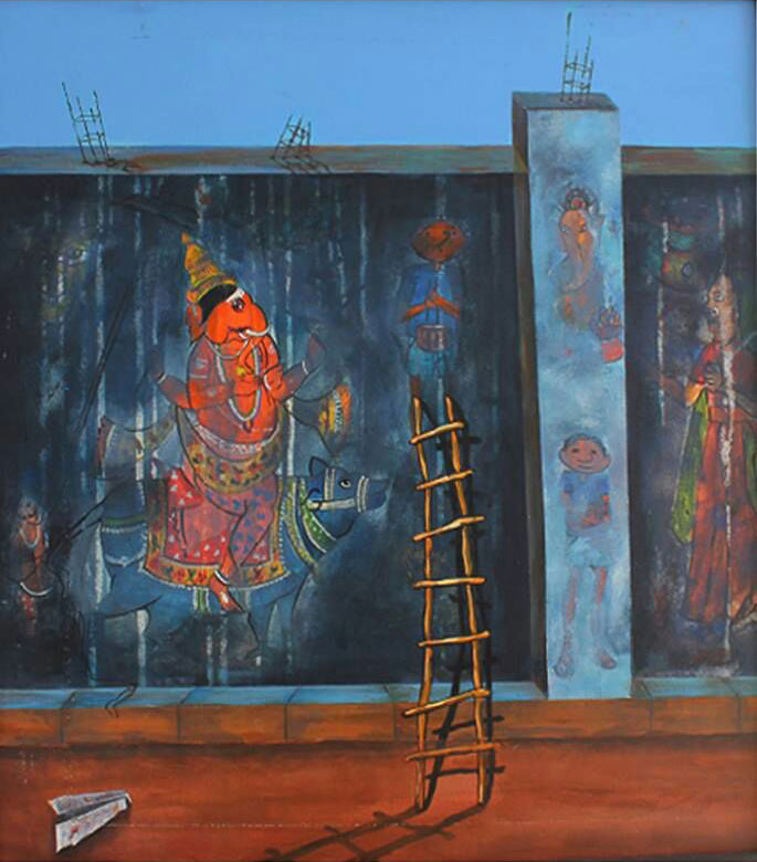 "Contemporary Painting with Acrylic on Canvas ""Childhood Memories"" art by Isha Bawiskar"