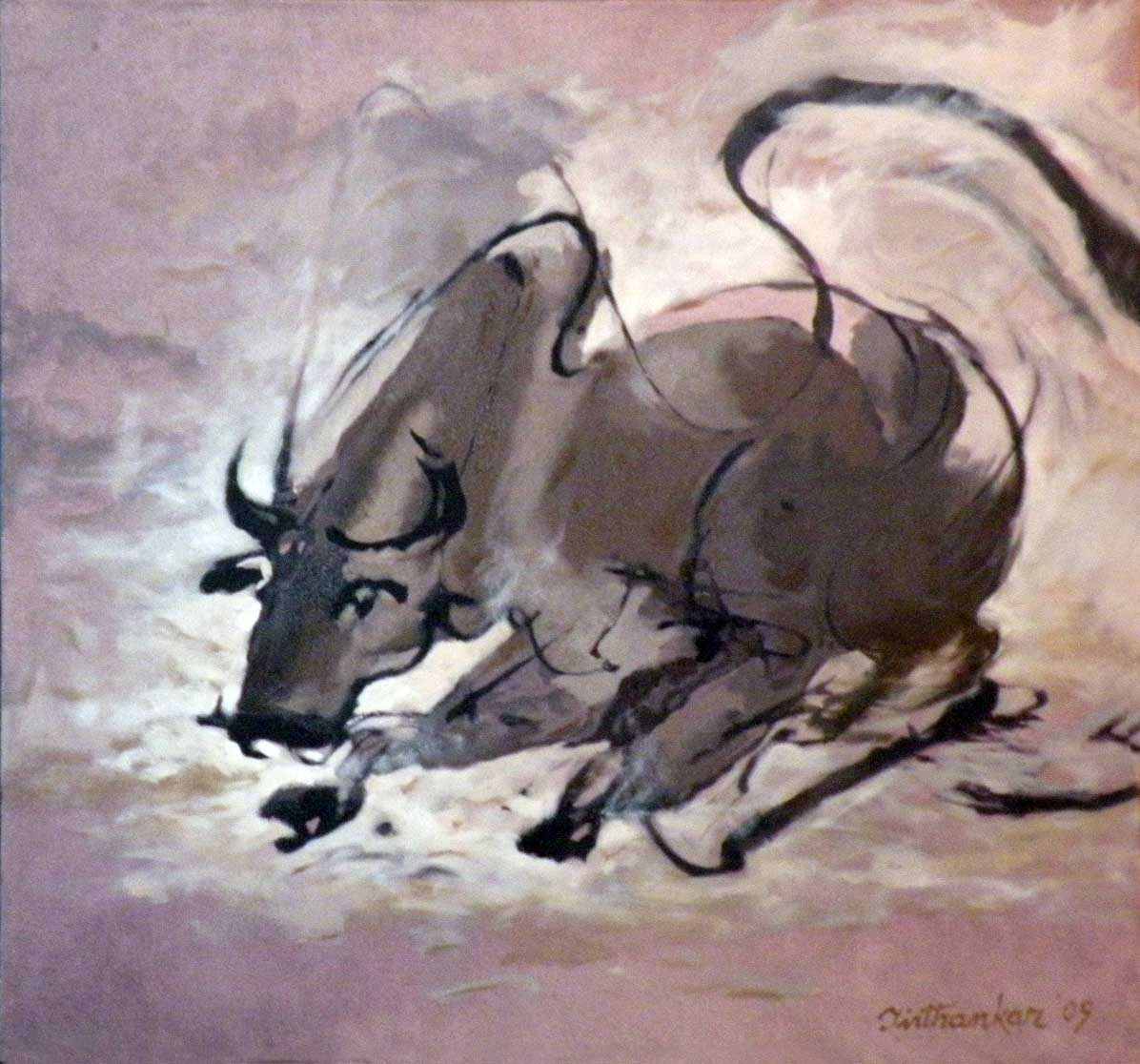 "Figurative Painting with Oil on Canvas ""Bull"" art by Tirthankar Biswas"