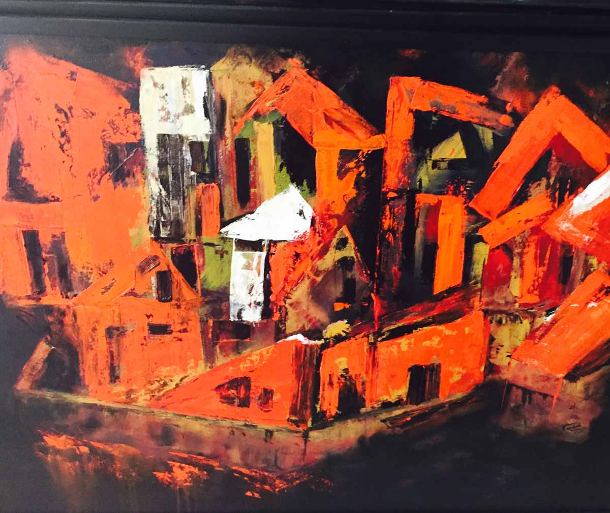 "Abstract Painting with Acrylic on Canvas ""Dwelling 3"" art by Vaishali Rajapurkar"