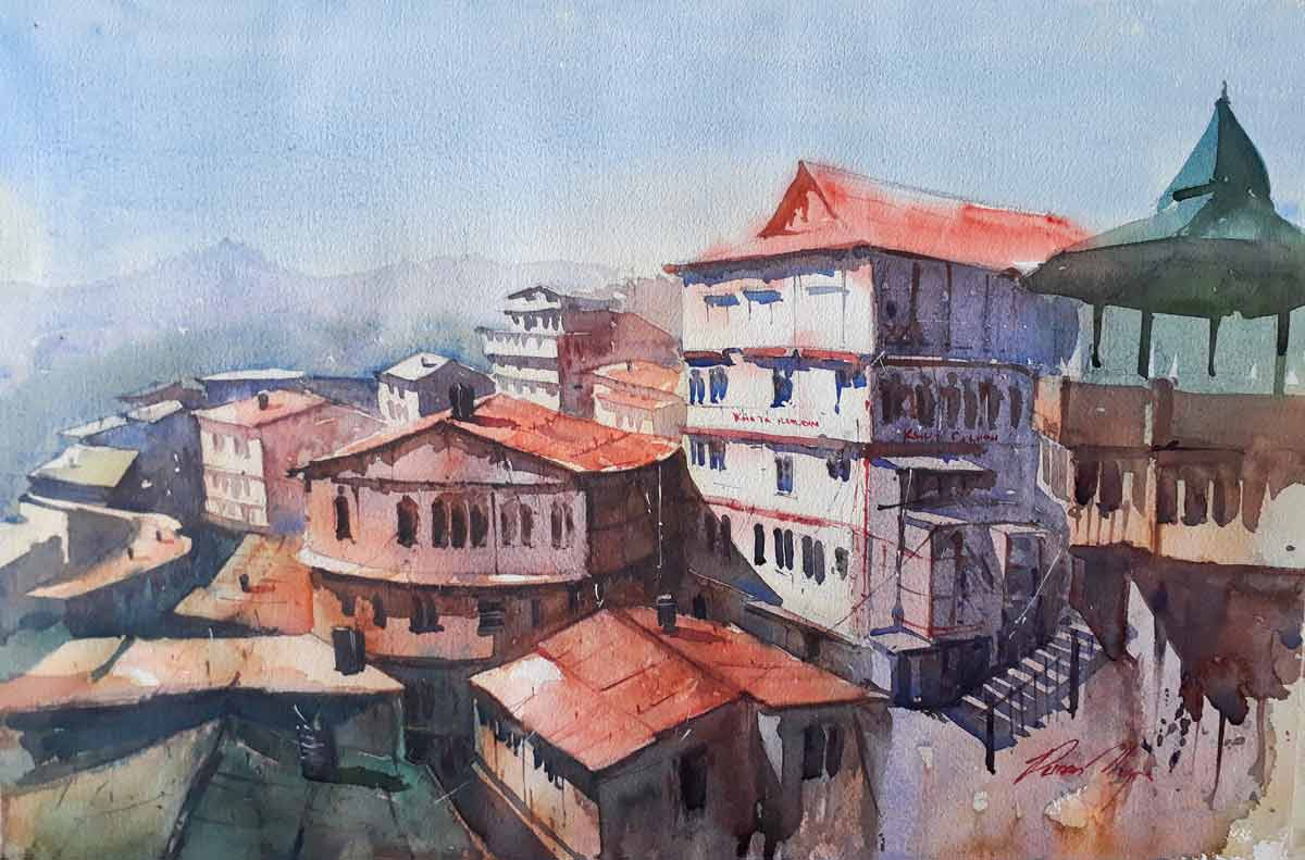 "Realism Painting with Watercolor on Paper ""Shimla"" art by Puran Thapa"