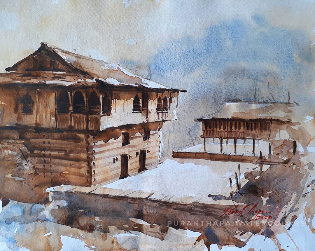 "Realism Painting with Watercolor on Paper ""Traditional Houses of Himalayas"" art by Puran Thapa"