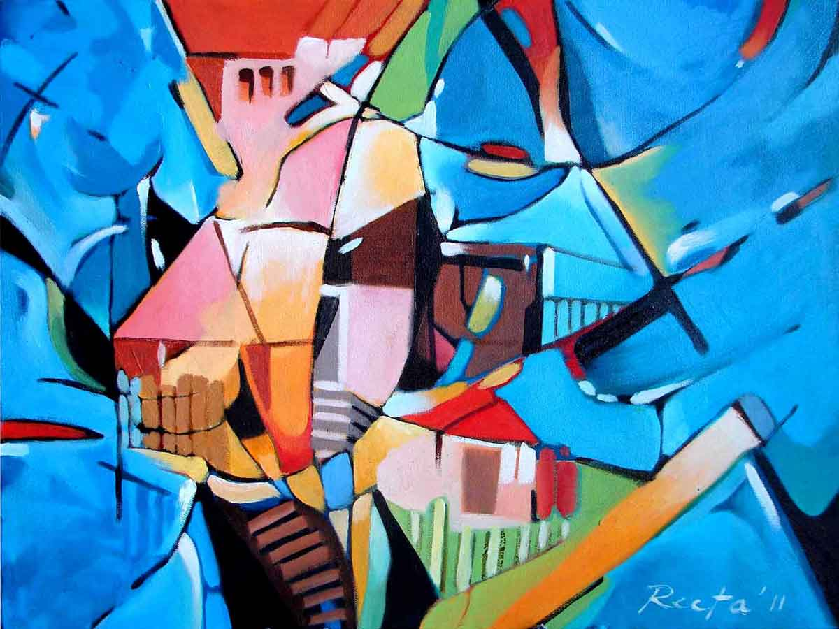 "Abstract Painting with Oil on Canvas ""Amidst of Nature "" art by Rita Roy"