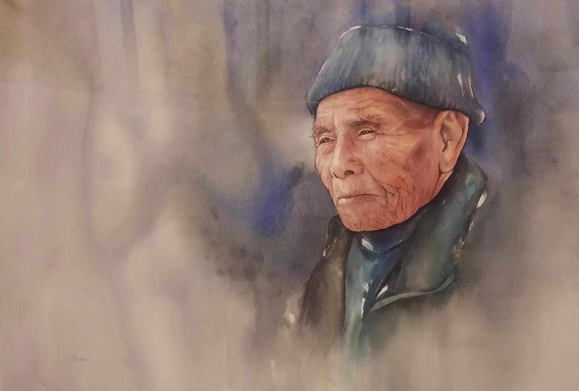 "Portraiture Painting with Watercolor on Paper ""Untitled"" art by Jamuna Gurung"