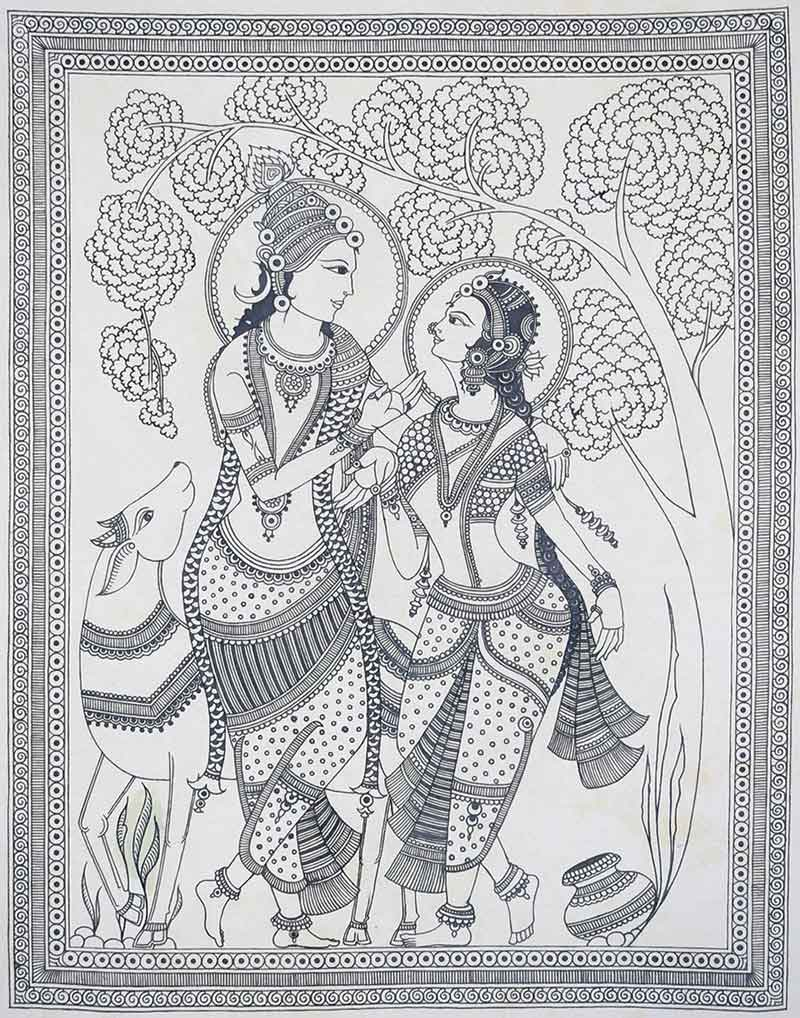 "Figurative Tapestry with Natural colour on Fabric ""Kalamkari"" art by Vaishali Verma"