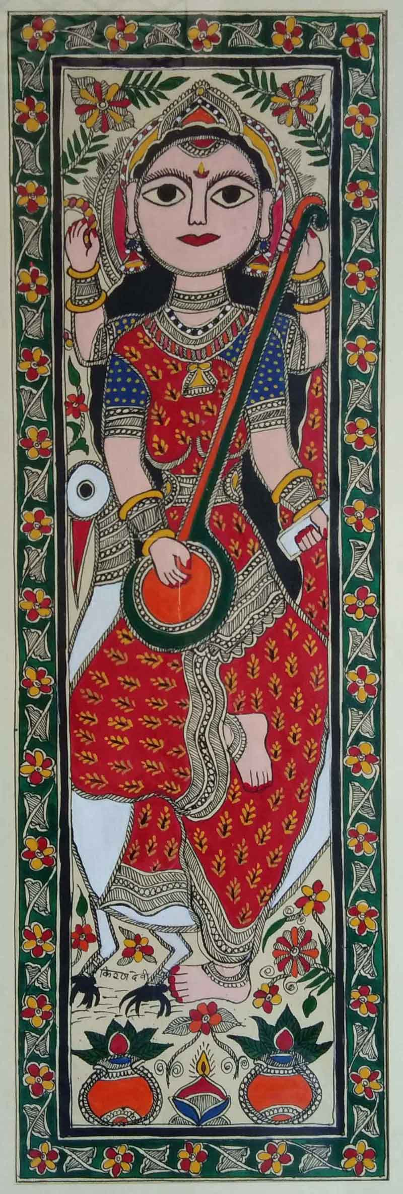 "Folk Painting with Watercolor on Paper ""Goddess Saraswati - 1"" art by Kiran Devi"