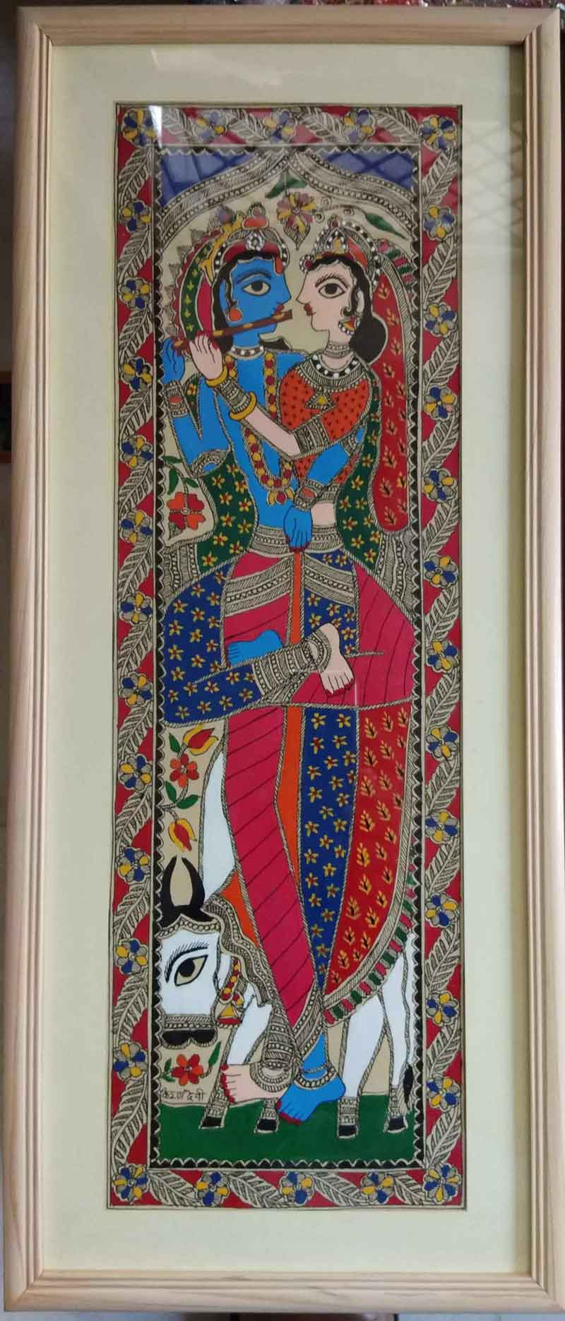 "Folk Painting with Natural colour on Paper ""Radha-Krishna"" art by Kiran Devi"