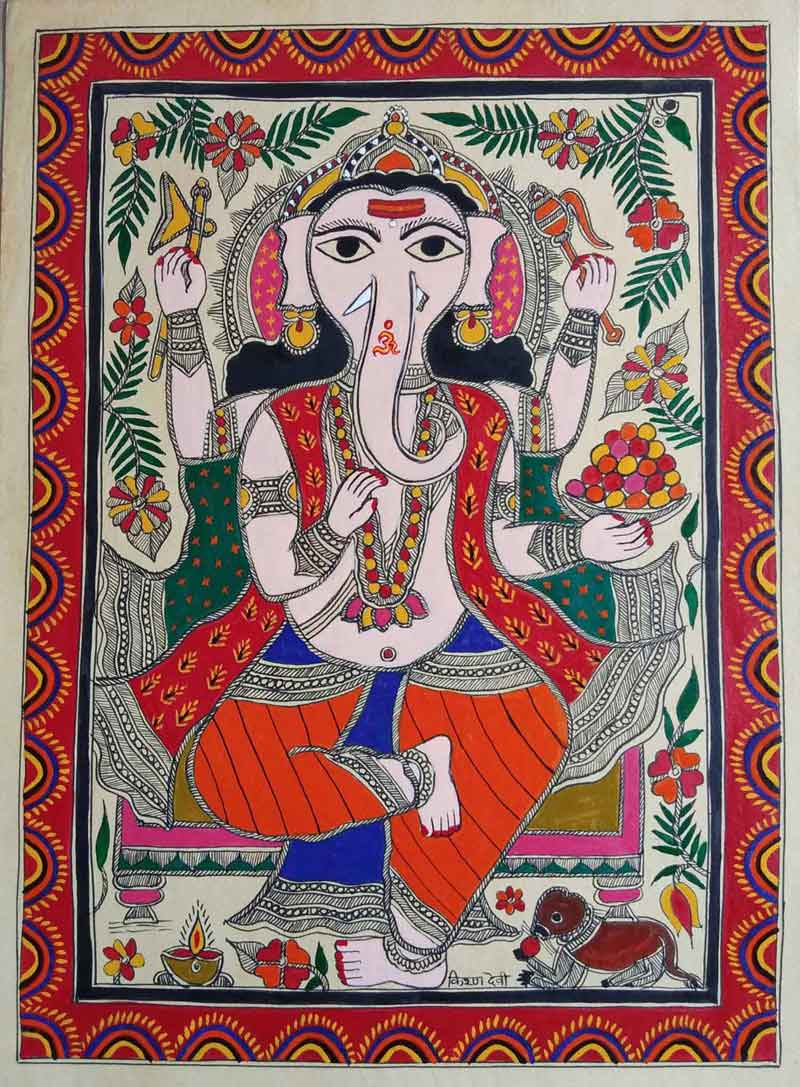 "Folk Painting with Natural colour on Paper ""Ganesha - 1"" art by Kiran Devi"