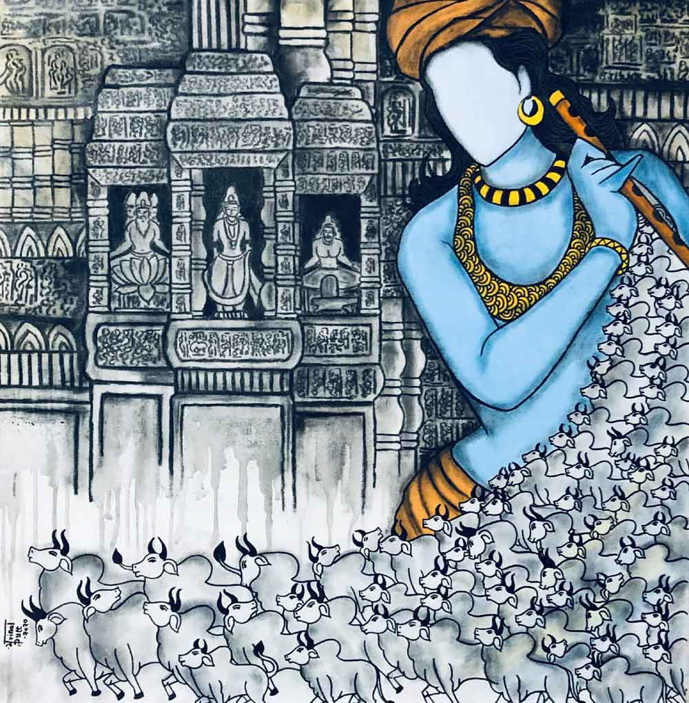"Figurative Painting with Mixed Media on Canvas ""Gopalaya"" art by Mrinal  Dutt"