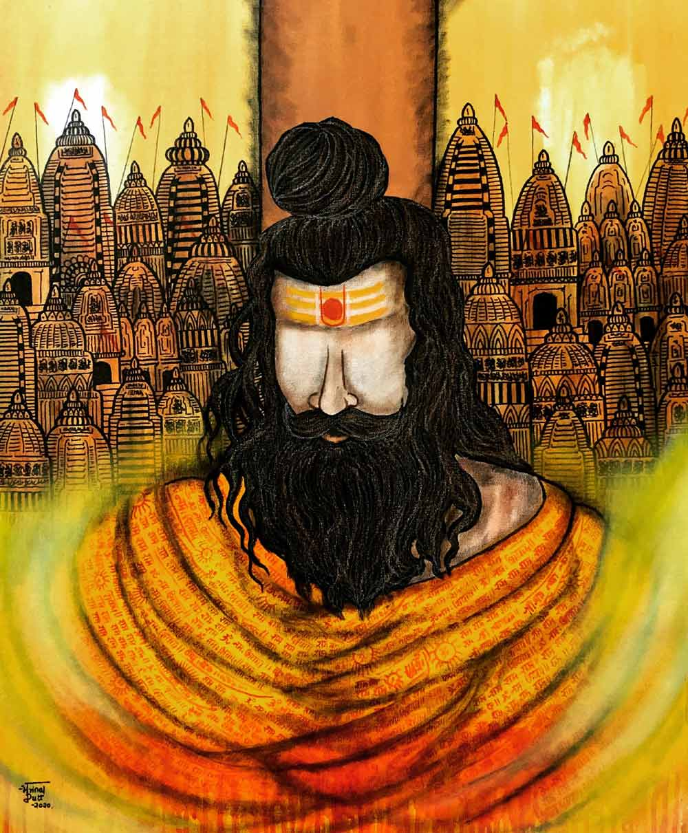 "Figurative Painting with Acrylic on Canvas ""Rishi"" art by Mrinal  Dutt"