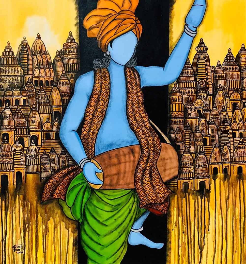 "Figurative Painting with Acrylic on Canvas ""Krishan"" art by Mrinal  Dutt"