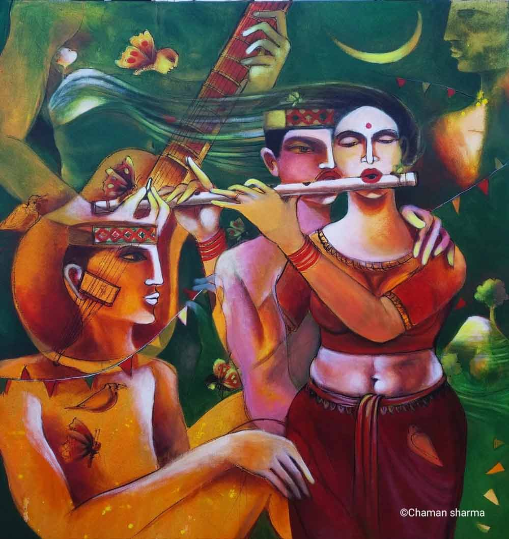 "Contemporary Painting with Acrylic on Canvas ""Song of Happiness-II"" art by Chaman  Sharma"