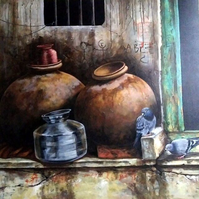 "Realism Painting with Acrylic on Canvas ""Matka-2"" art by Ghanshyam Kashyap"