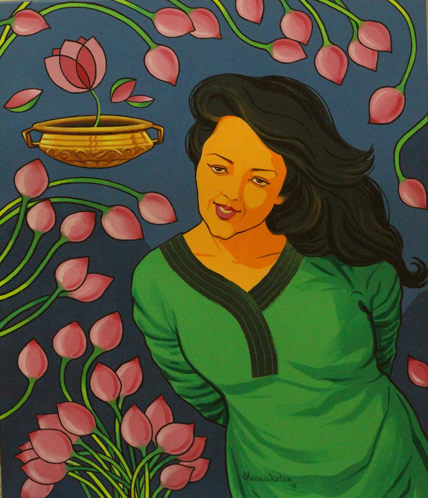 "Contemporary Painting with Acrylic on Canvas ""Illusion"" art by Meenaketan Pattnaik"