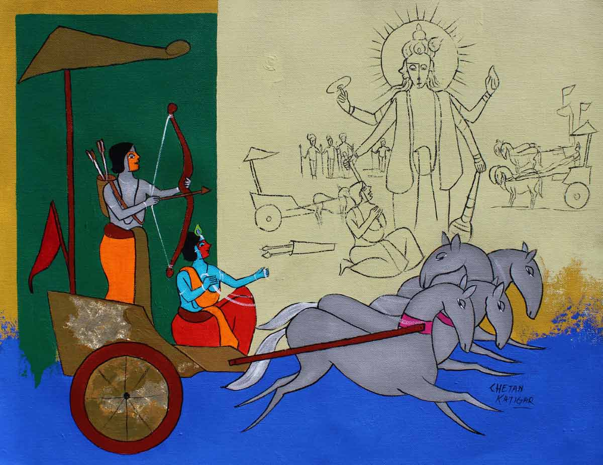 "Figurative Painting with Acrylic on Canvas ""Krsihna the Charioteer"" art by Chetan Katigar"