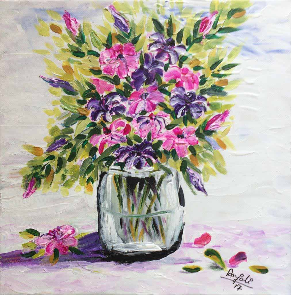 "Semi Realistic Painting with Acrylic on Paper ""Flowers"" art by Anjali Mittal"