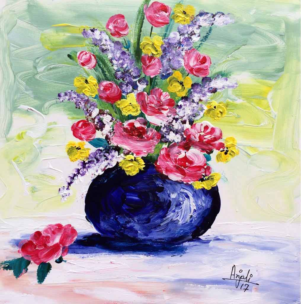 "Semi Realistic Painting with Acrylic on Paper ""Flowers-2"" art by Anjali Mittal"