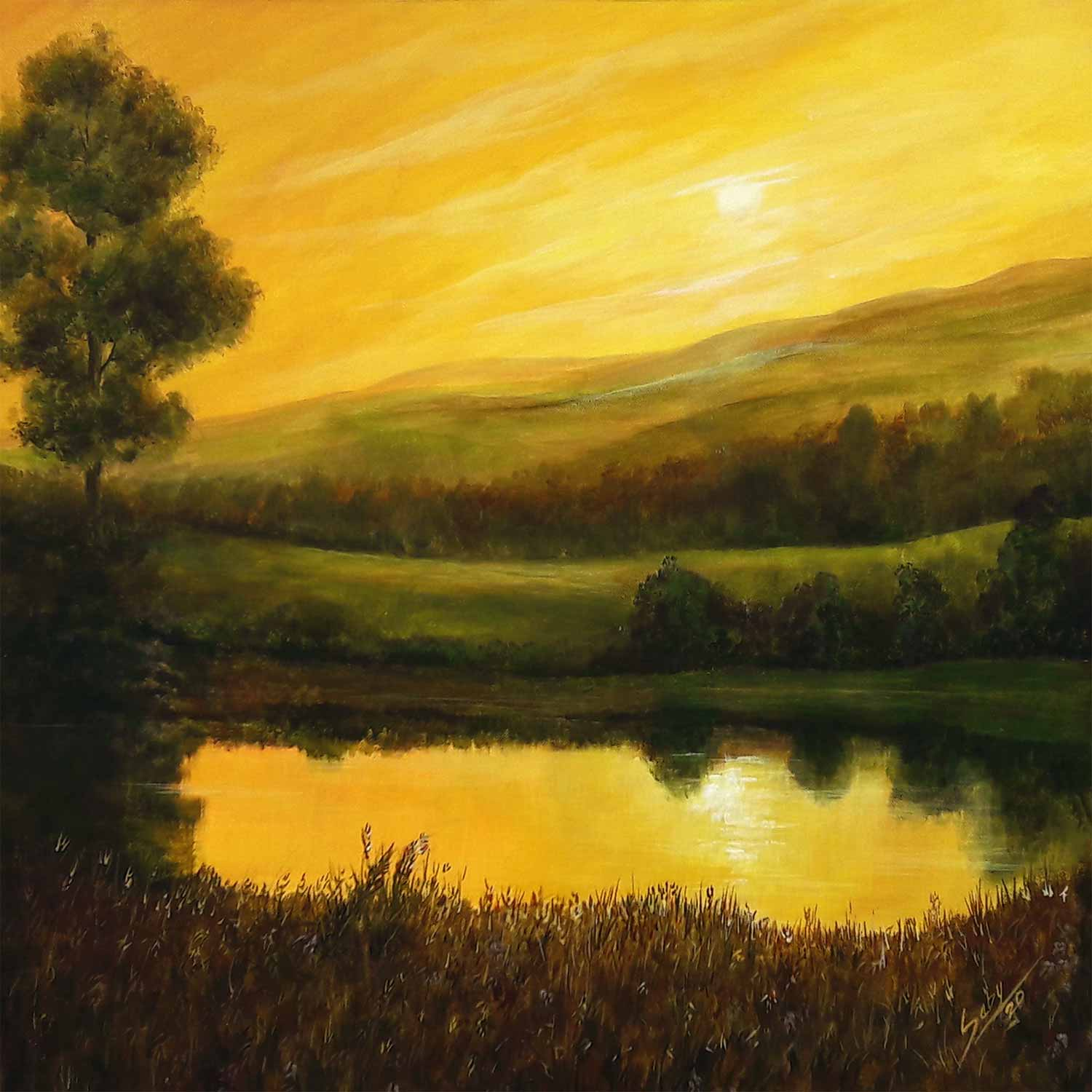 "Realism Painting with Acrylic on Canvas ""Evening Moods"" art by Sebi Augustian"