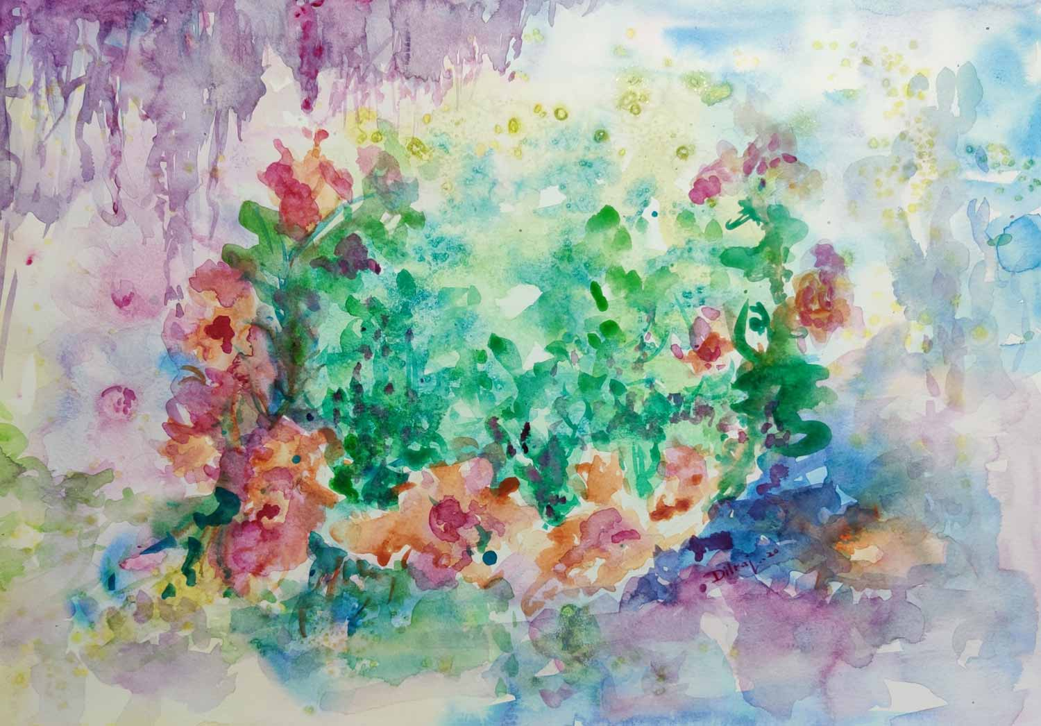 "Contemporary Painting with Watercolor on Paper ""Spring-4"" art by Dilraj Kaur"
