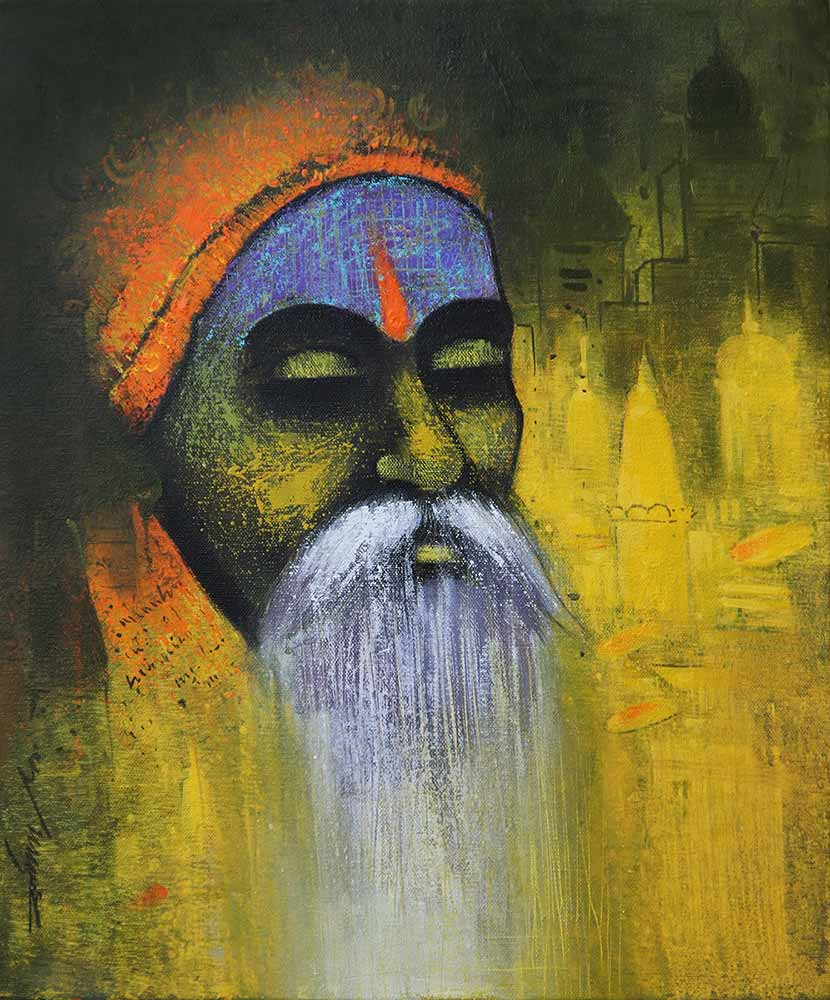 "Portraiture Painting with Acrylic on Canvas ""A Sadhu"