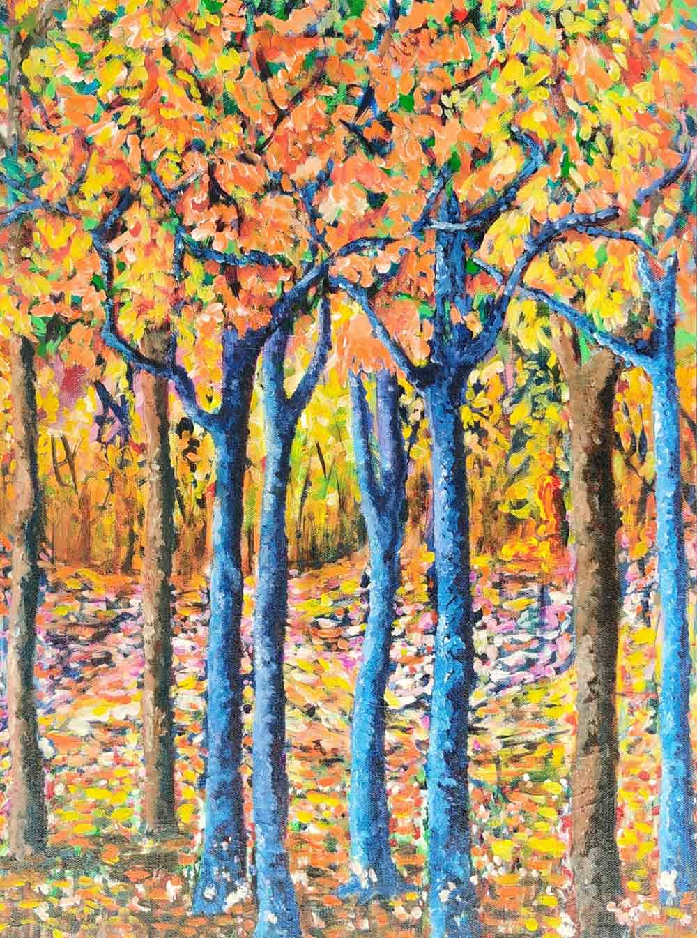 "Contemporary Painting with Acrylic on Canvas ""Whispering trees"" art by Dilraj Kaur"