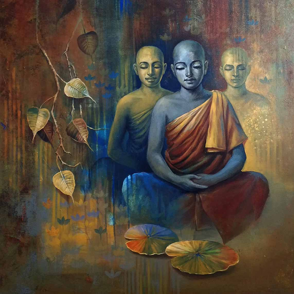 "Realism Painting with Acrylic on Canvas ""Buddha-3"" art by Sanjay Lokhande"