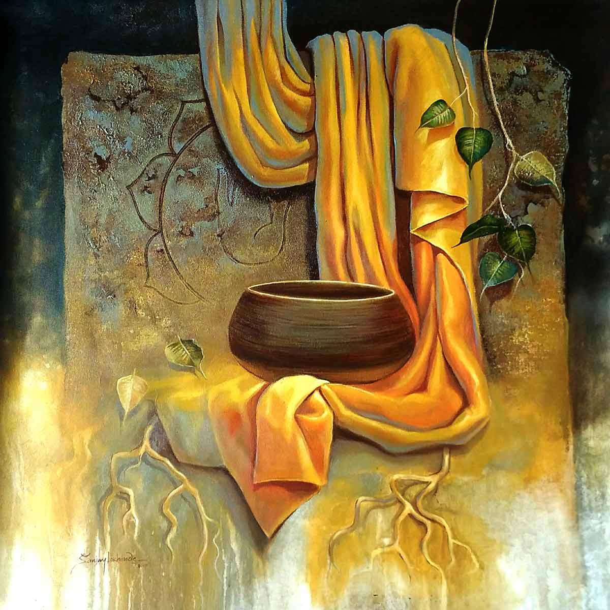 Buy Buddha Painting With Acrylic On Canvas By Sanjay Lokhande Indigalleria