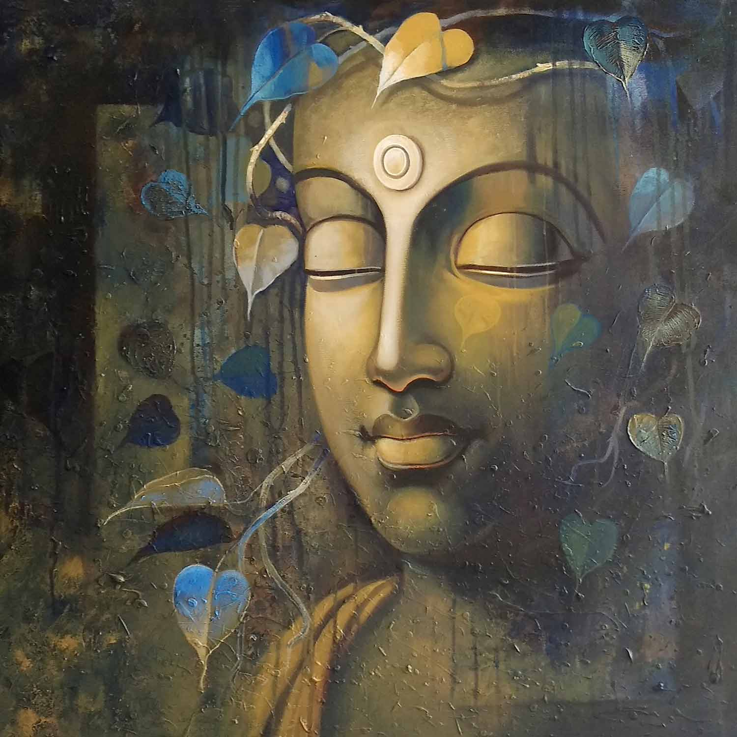 "Realism Painting with Acrylic on Canvas ""Buddha-5"" art by Sanjay Lokhande"