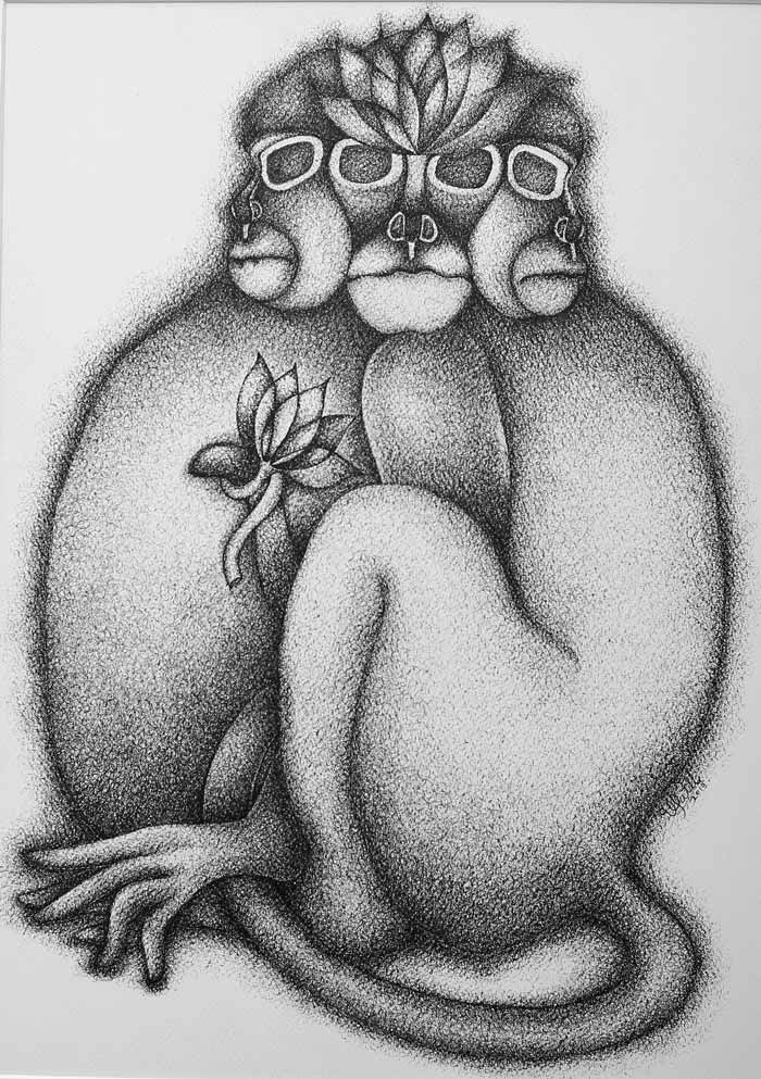 "Surrealism Drawing with Pen on Fabriano ""Supreme Power - Hanuman"" art by Vrushali Patil"