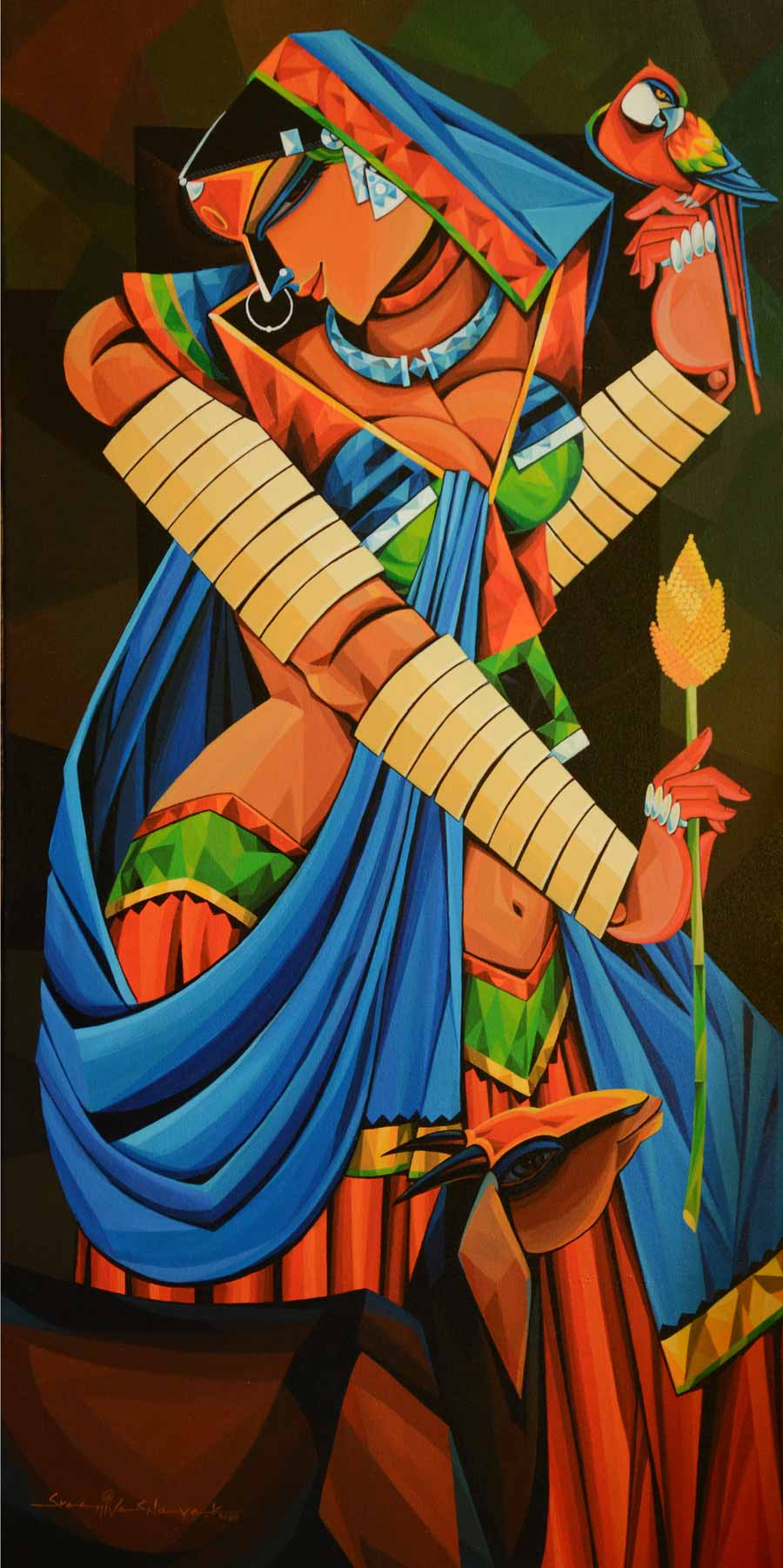 "Figurative Painting with Acrylic on Canvas ""Indian woman - 12"" art by Ramavath Srinivas"
