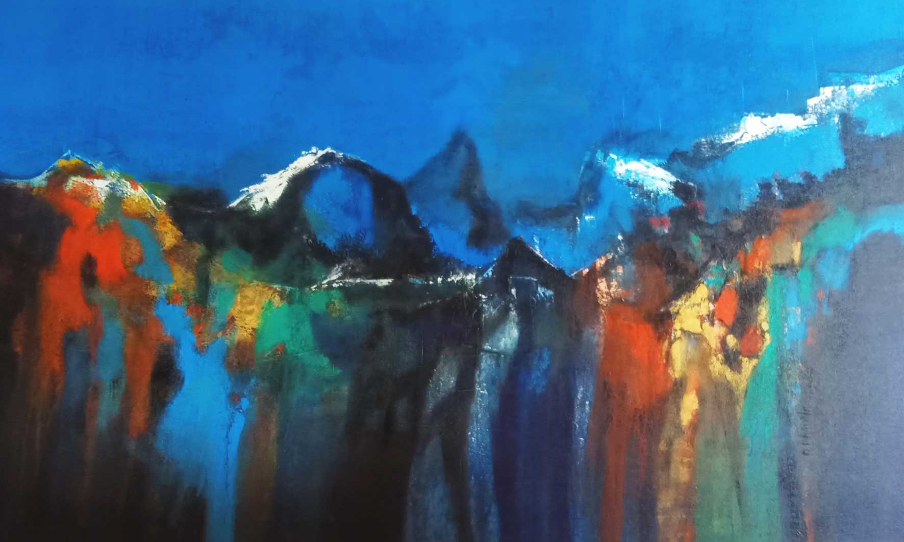 "Semi Abstract Painting with Acrylic on Canvas ""Mountain Range-6"" art by Dnyaneshwar Dhavale"