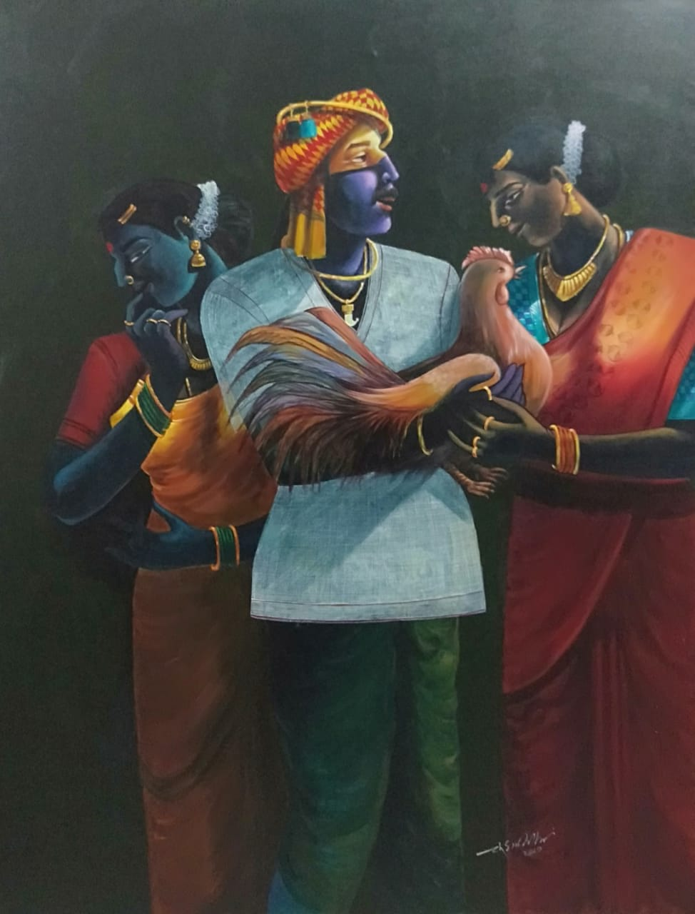 "Figurative Painting with Acrylic on Canvas ""Village Family - 3"" art by Chinnaa  Sreepathi"