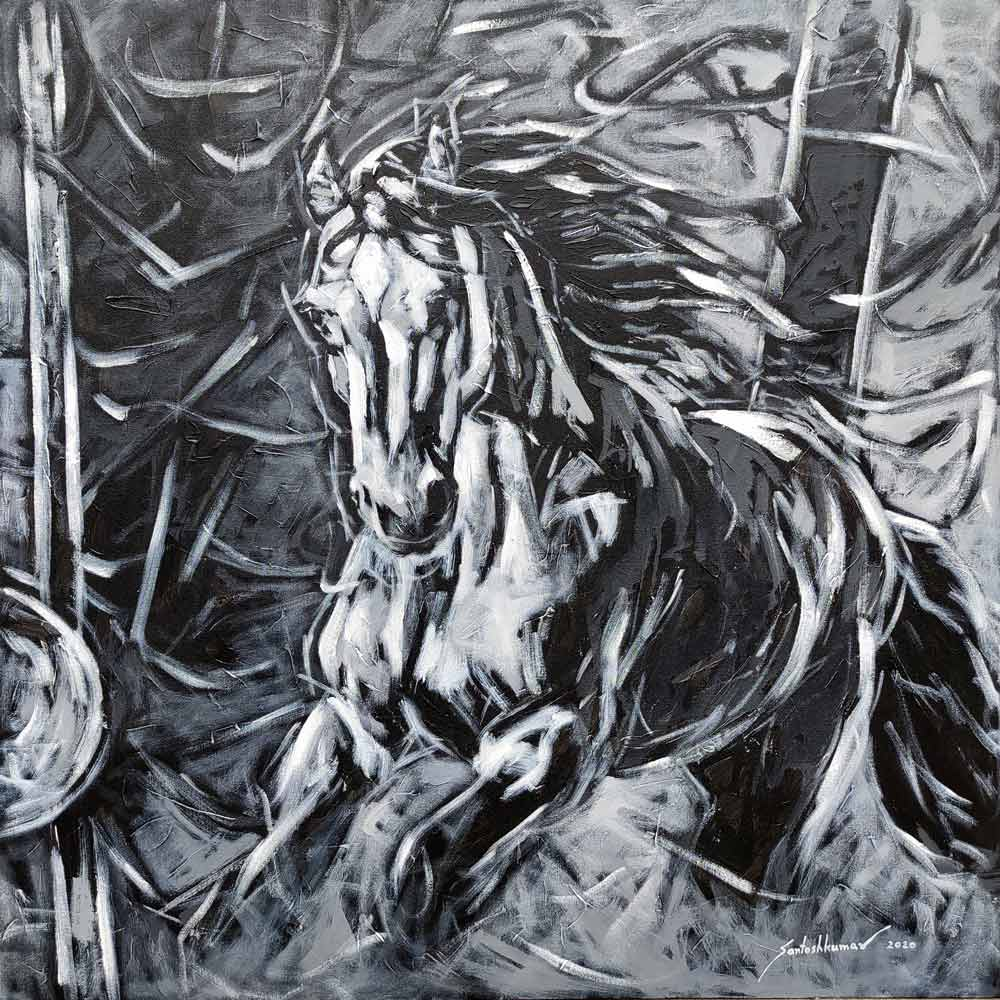 "Semi Figurative Painting with Acrylic on Canvas ""Horse-8"" art by Santoshkumar Patil"