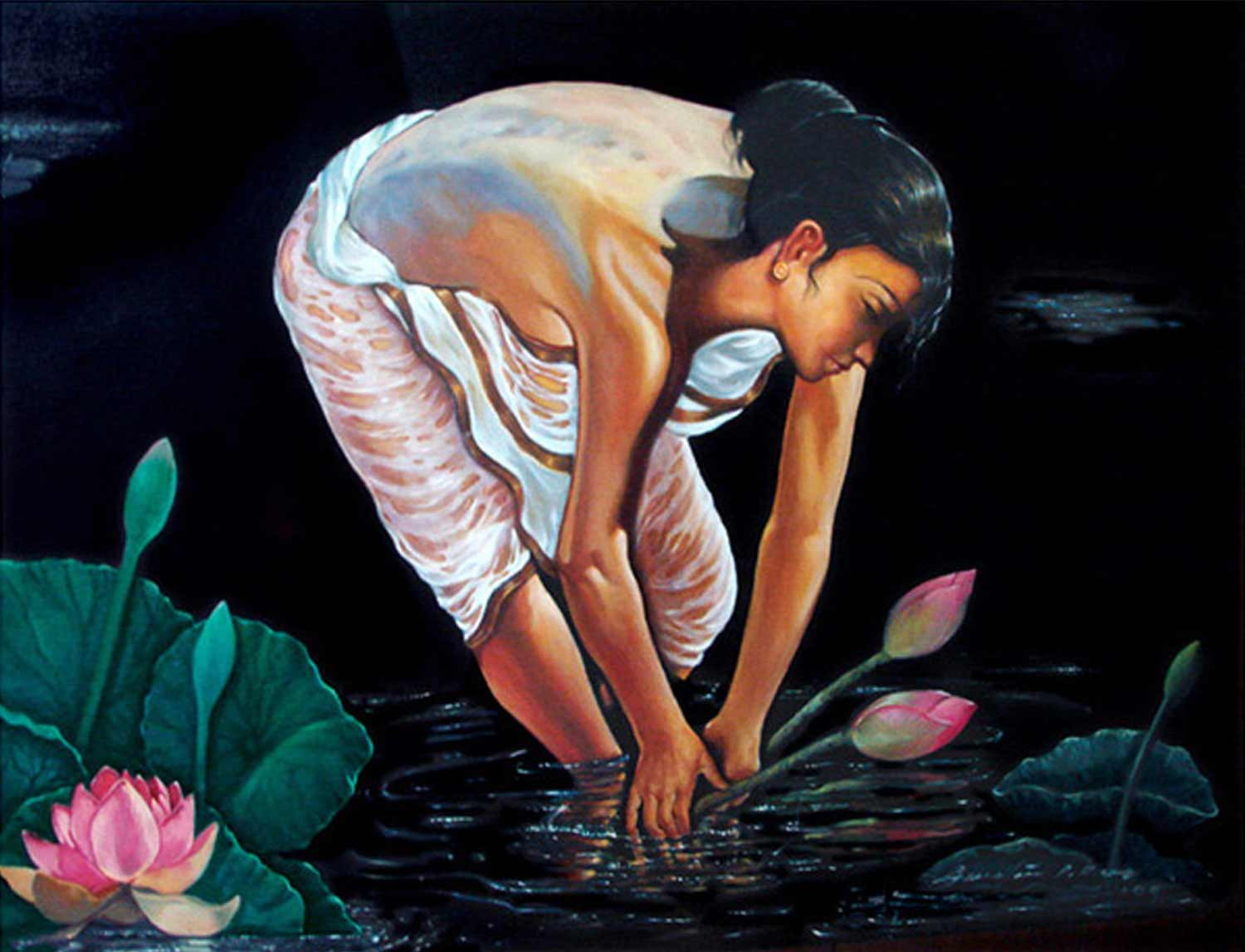 "Figurative Painting with Oil on Canvas ""Lotus Bathing"" art by Gautam Partho Roy"