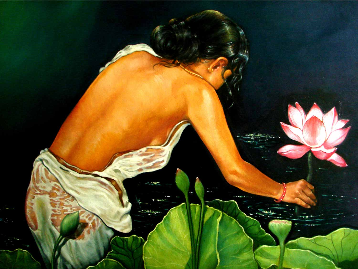 "Figurative Painting with Oil on Canvas ""Holy Touch"" art by Gautam Partho Roy"