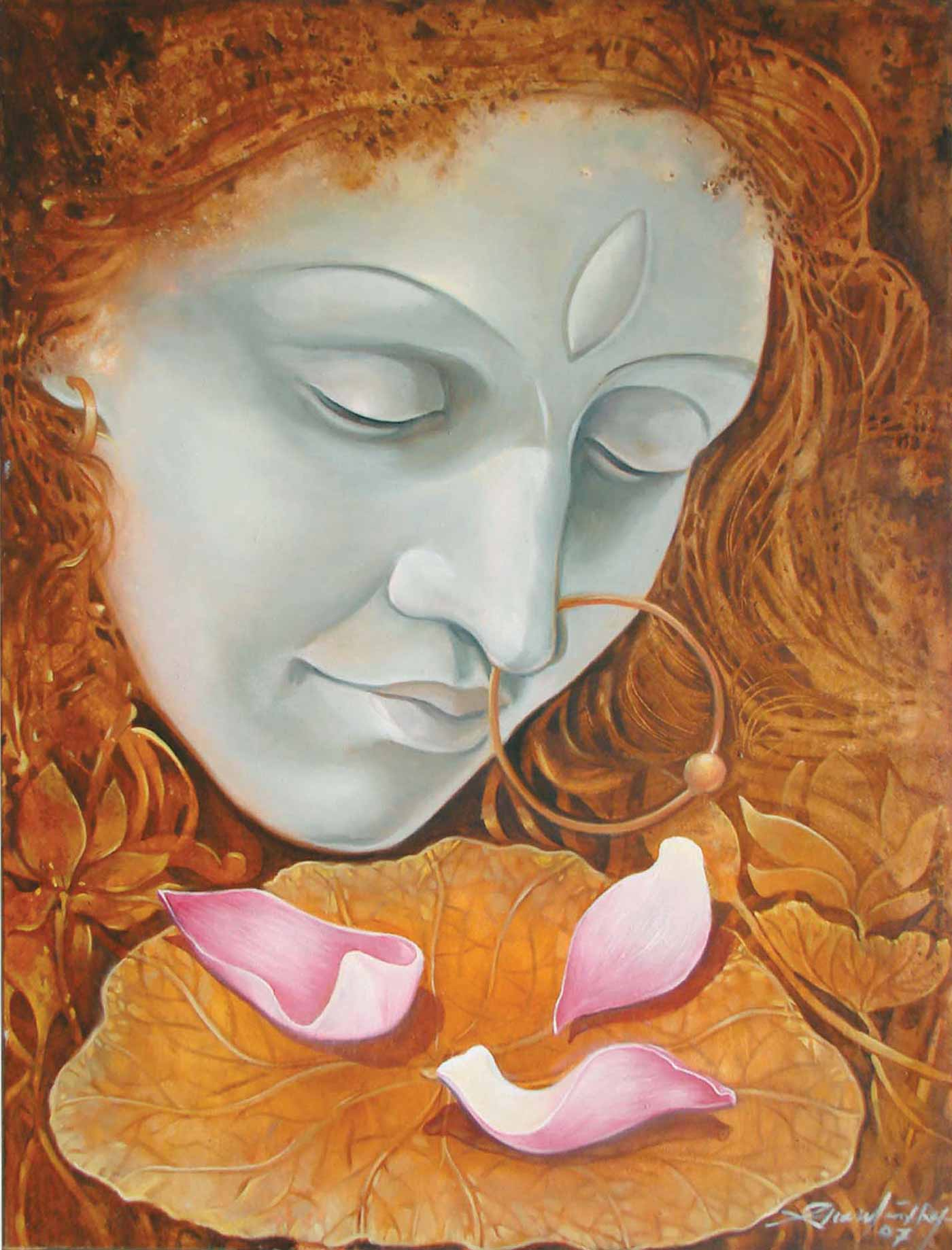 "Figurative Painting with Oil on Canvas ""Morning Prayer"" art by Gautam Partho Roy"