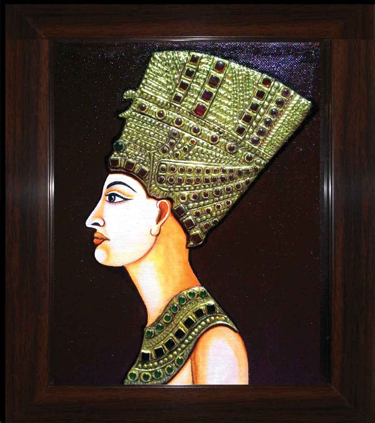 "Folk Painting with Mixed Media on Canvas Board ""Cleopetra"" art by Sujata Sarkar"