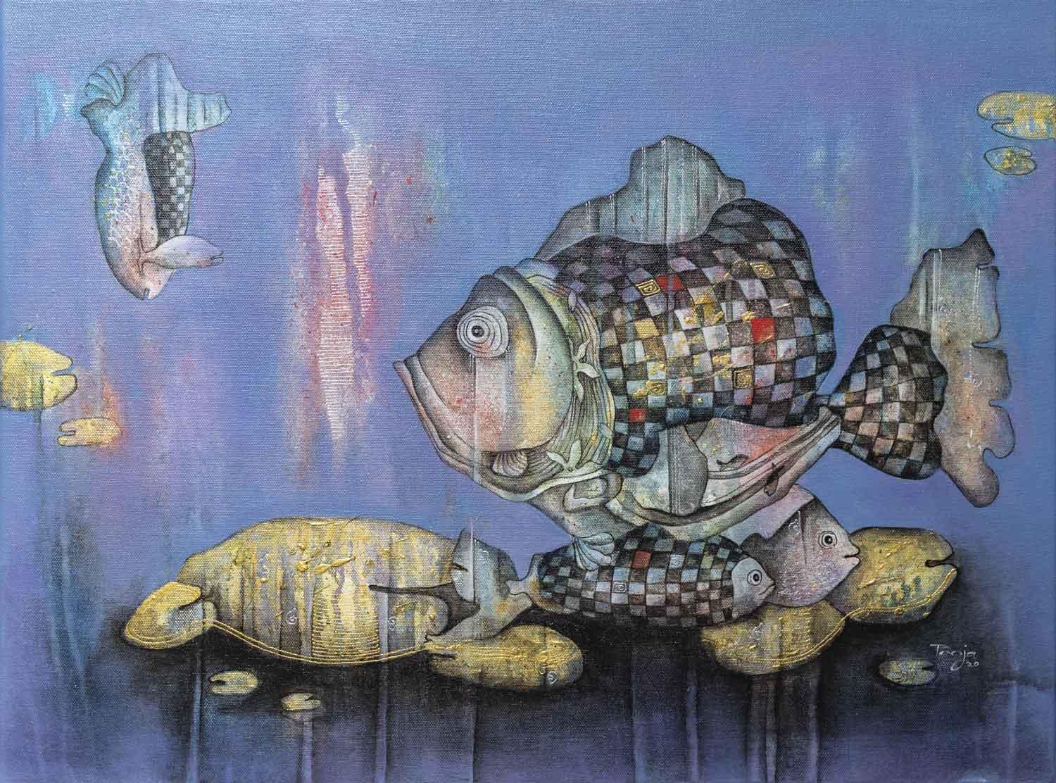 "Contemporary Painting with Acrylic on Canvas ""Underwater world-3"" art by Pooja Mhatre"