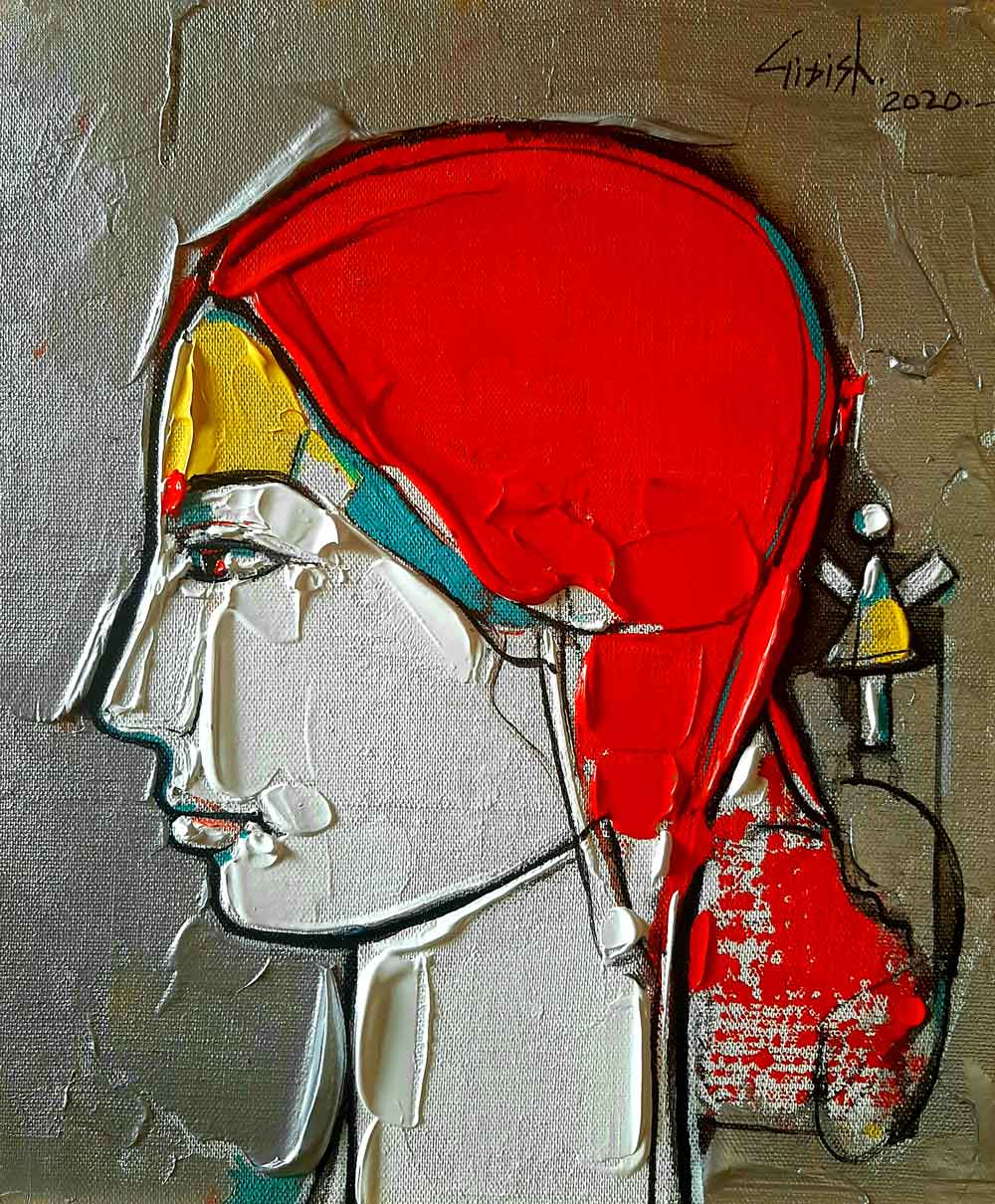 "Figurative Painting with Acrylic on Canvas Board ""Woman-9"" art by Girish Adannavar"