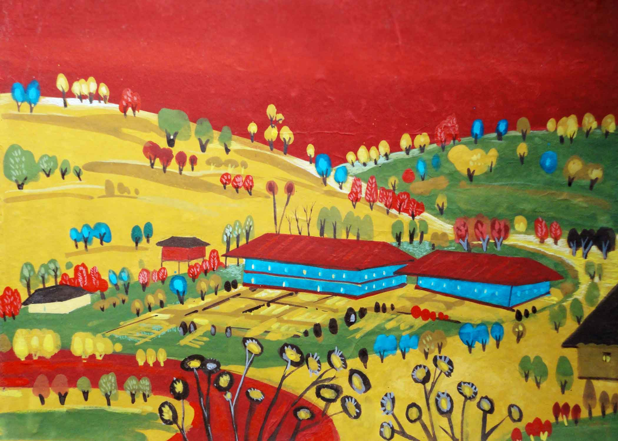"Semi Realistic Painting with Tempera on Paper ""Landscape-2"" art by Goutam Pramanick"