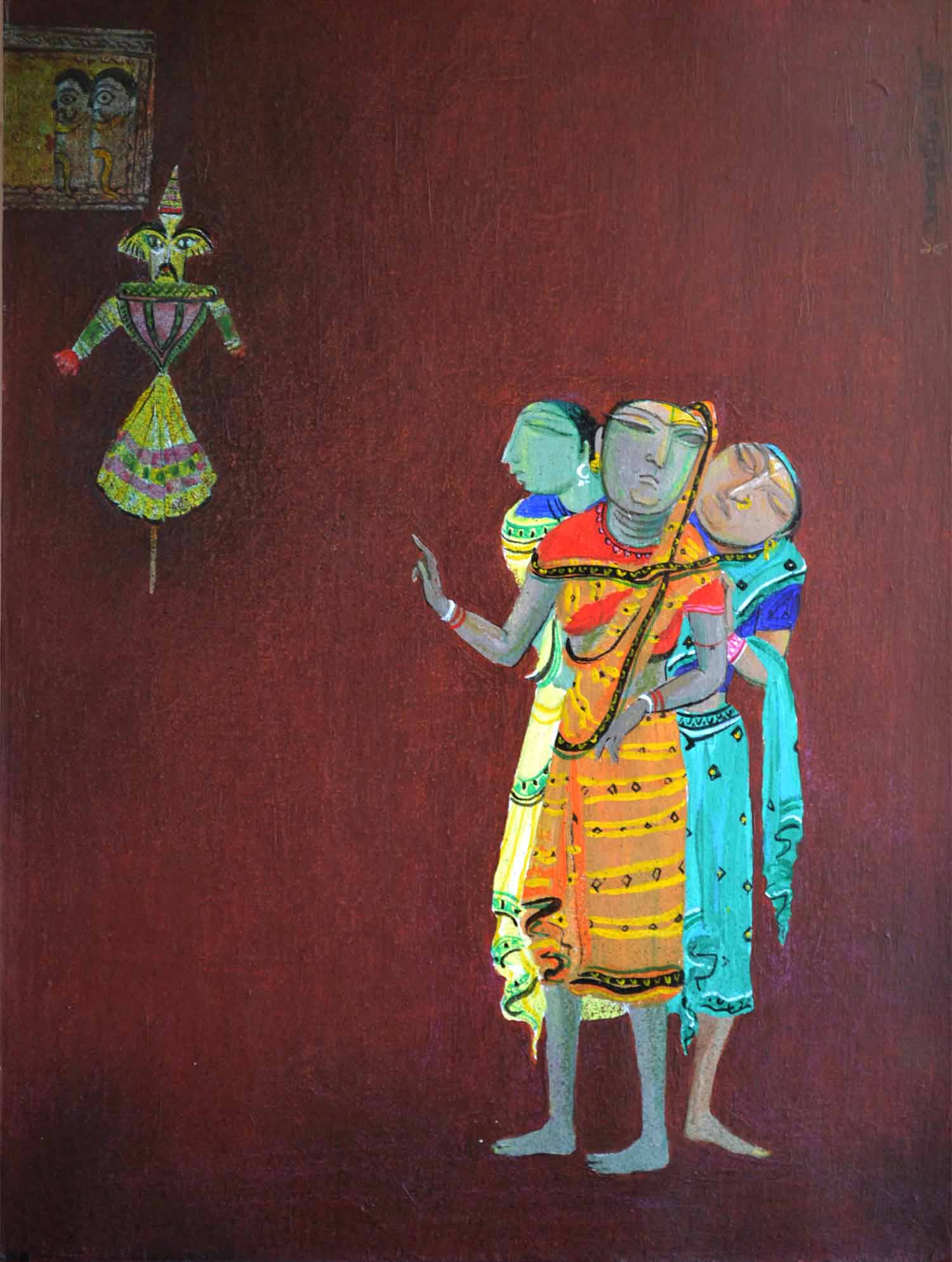 "Figurative Painting with Acrylic on Canvas Board ""Puppet"" art by Jyoti Prasad Mallick"