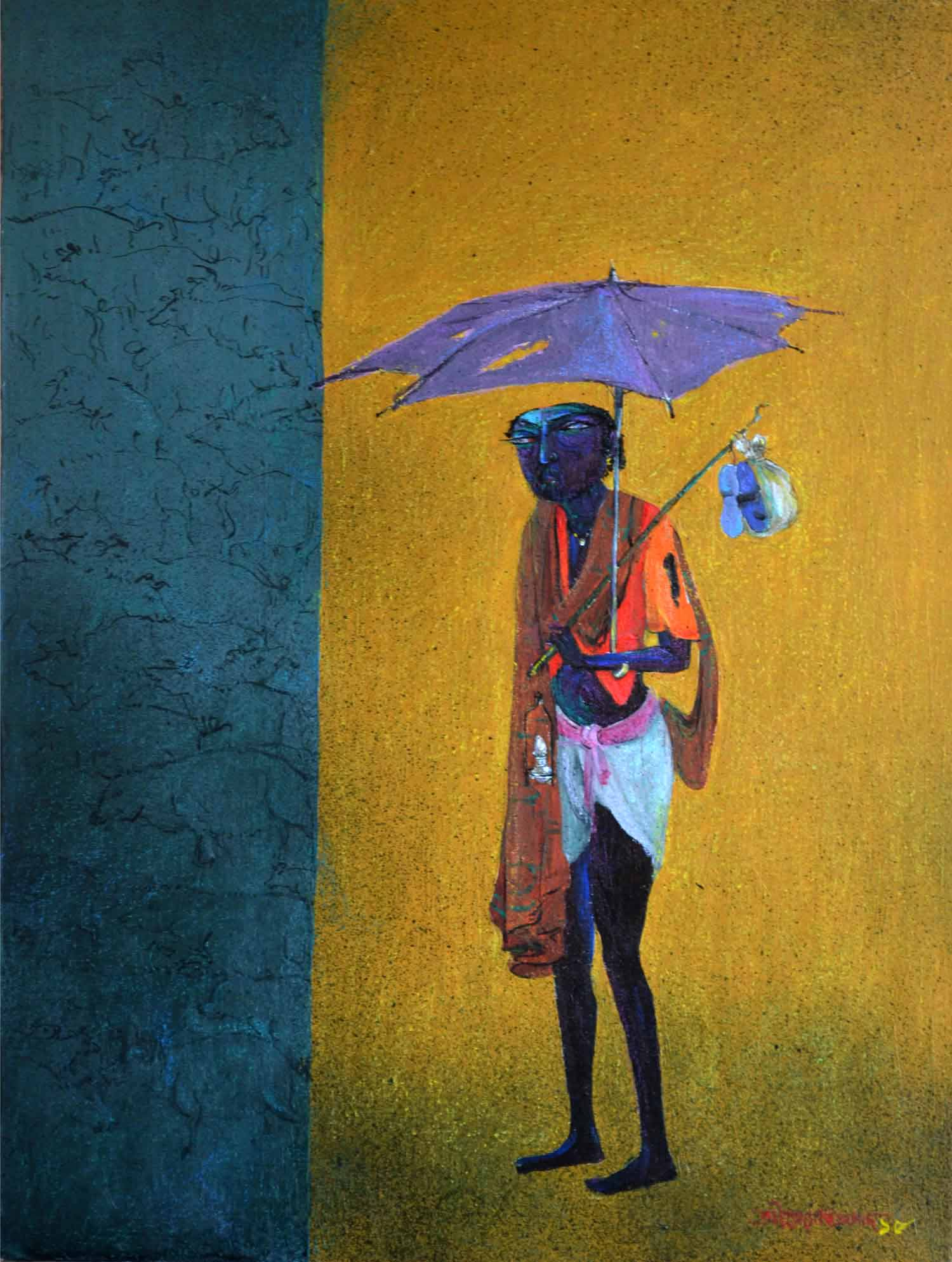 "Figurative Painting with Acrylic on Canvas Board ""Lifehood"" art by Jyoti Prasad Mallick"