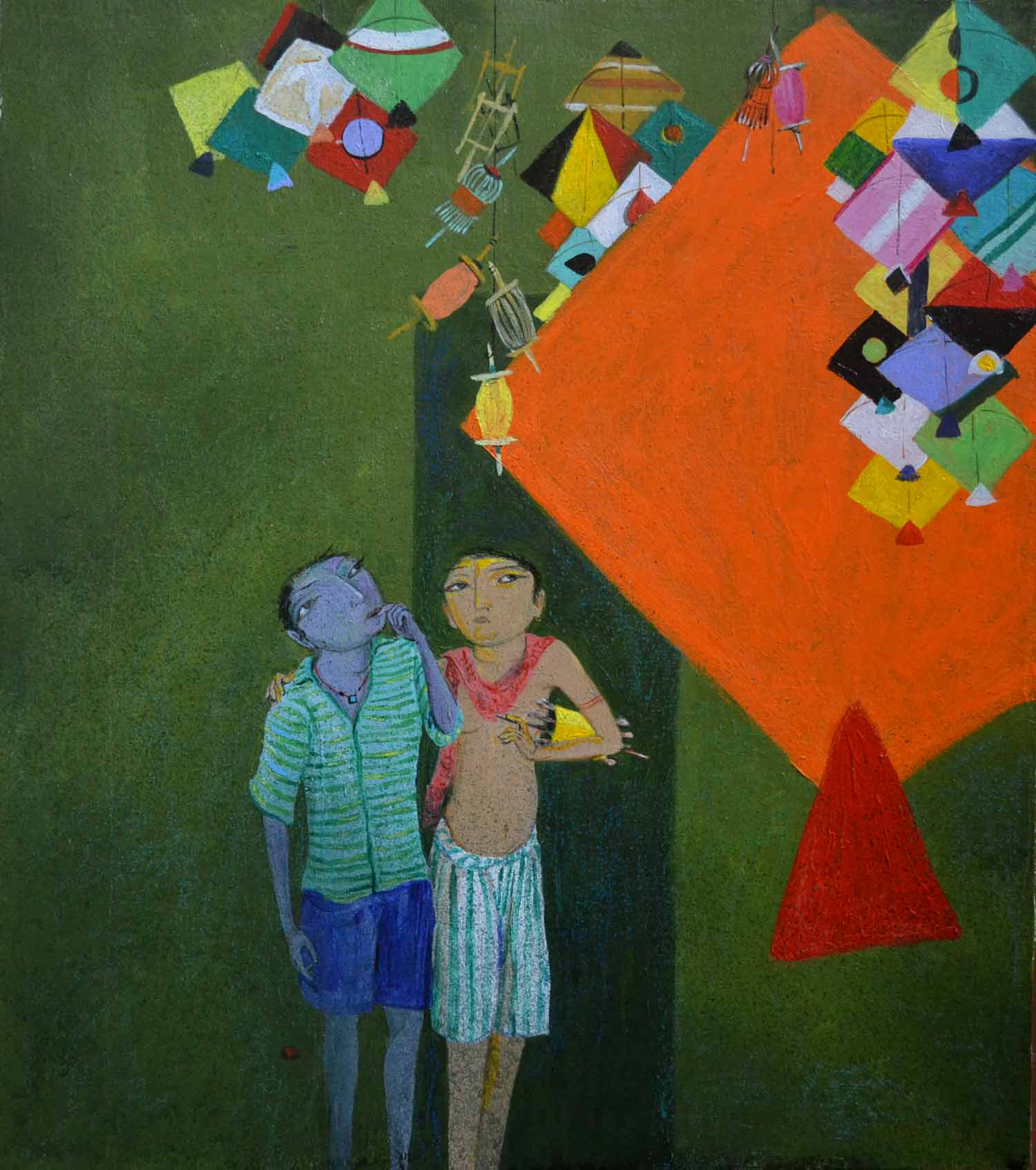 "Figurative Painting with Acrylic on Canvas Board ""Kiteshop"" art by Jyoti Prasad Mallick"