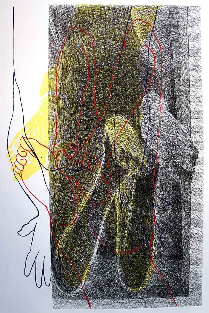 "Contemporary Printmaking with Serigraph on Paper ""Multiple Encounters-B"" art by Ananda Moy Banerji"