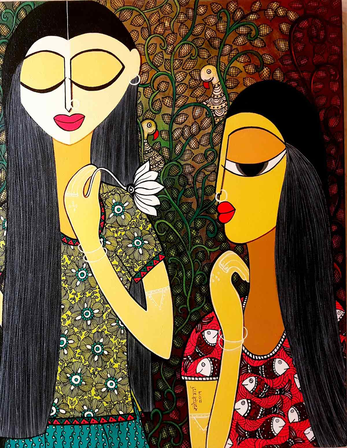 "Figurative Painting with Acrylic on Canvas ""Admiration"" art by Rangoli Garg"