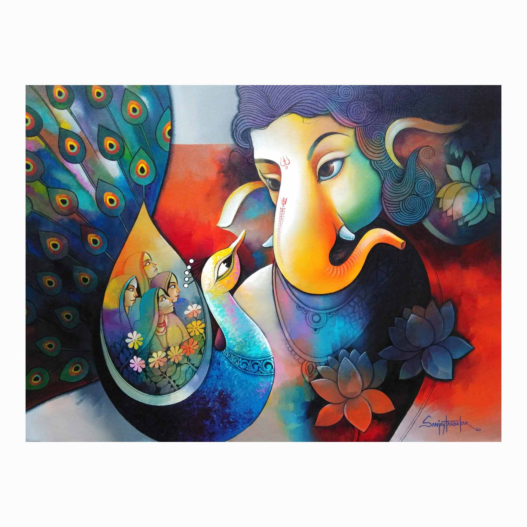"Figurative Painting with Acrylic on Canvas ""Ganesha"" art by Sanjay Tandekar"
