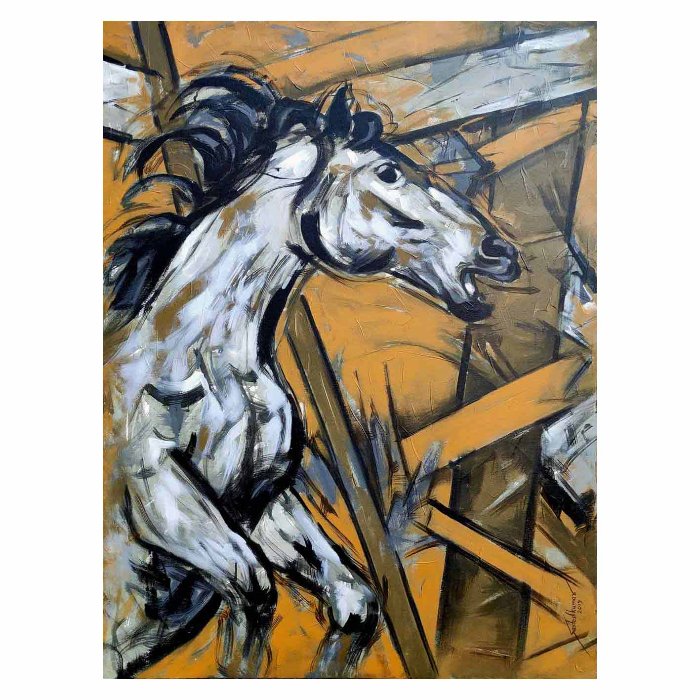 "Semi Figurative Painting with Acrylic on Canvas ""Horse-2"" art by Santoshkumar Patil"