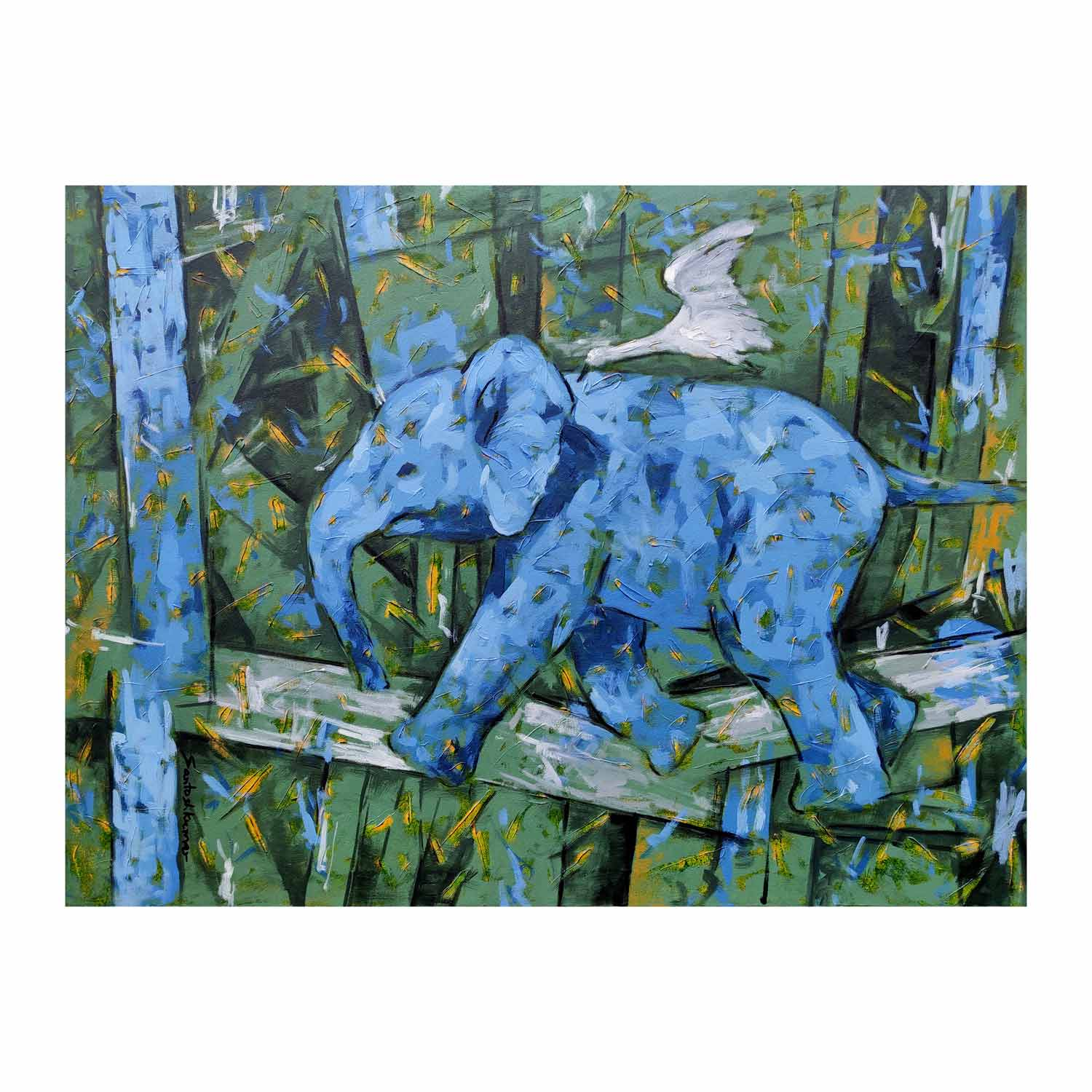 "Semi Realistic Painting with Acrylic on Canvas ""Elephant-1"" art by Santoshkumar Patil"