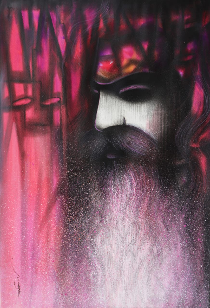 "Portraiture Painting with Mixed Media on Hand made paper ""A Sadhu"